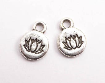 Antique Silver Lotus Charms, (2 pcs) Lotus Charms, Antique Silver Flower Charms, Antique Silver Lotus Flower Charms, Silver Lotus CHM0220