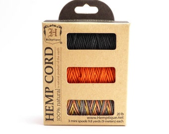 Ginger Spice Hemp Cord Spool Set, 1mm Hemp Cord Set, Hemptique, Variegated Hemp Cord, Hemp Mini Spool Set, Black Hemp Cord HMS0061