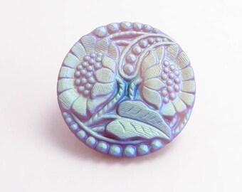 27mm Matt Pearlescent Flower Czech Glass Button, Flower Button, Flower Czech Button, AB Czech Button, AB Flower Button BUT0060