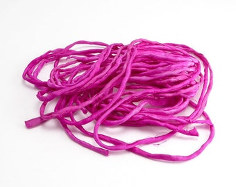 Raspberry Pink Thin Silk Cord, (1 Strand) Raspberry Pink Ribbon, Pink Silk Ribbon, Pink Cord, Pink Silk Cord, Pink Bracelet Silk SSR0057
