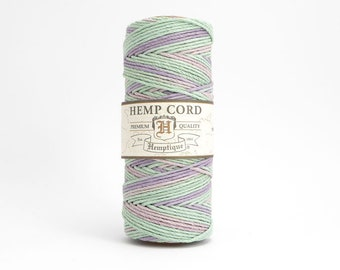 62.5m x Pastel Hemp Cord 1mm, Hemptique Cord, Pink Hemp Cord, Green Hemp Cord, Purple Hemp Cord HMS0050