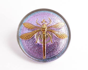 Pink Dragonfly Czech Glass Button, 31mm Czech Button, Dragonfly Bead, BUT0066