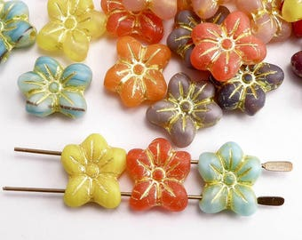Bright Puffy Flower Czech Glass Beads 2 Hole, (6 pcs) 14x13mm Flower Beads, Glass Flower Beads, Bright Flower Beads, Pansy Beads FLW0461