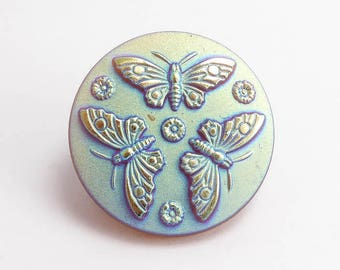 Butterfly Czech Glass Button, 27mm Czech Button, Butterfly Button, BUT0063