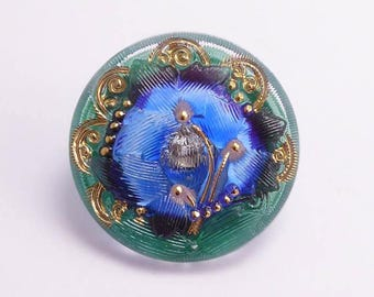 Flower Czech Glass Button, 27mm Czech Button, Blue Flower, BUT0082