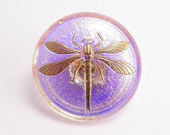 Pink Dragonfly Czech Glass Button, 31mm Czech Button, Dragonfly Button, BUT0069
