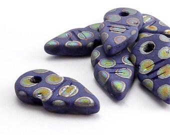 Blue Arrow Czech Glass Beads, (8 pcs) 19x9mm Arrow Beads, Pointer Beads, ARR0003