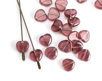Amethyst Heart Czech Glass Beads, (20 pcs) 8mm Heart Beads, HRT0102