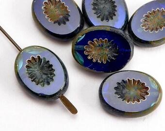 14x10mm Blue Oval Czech Glass Beads, (6 pcs)