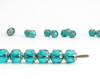 Teal Cathedral Czech Glass Beads, (20 pcs) 6mm Cathedral Beads, Fire Polished Beads, Teal Cathedral Beads, Teal Glass, Bols Beads CAT0002