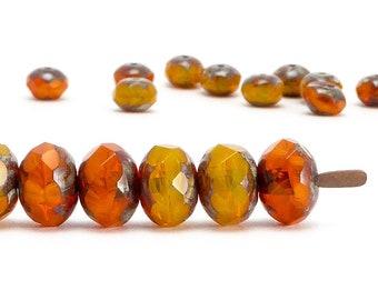 Rondelle Czech Glass Beads, (10 pcs) 6x8mm Rondelle Beads, Gemstone Donut Beads, GMD0264