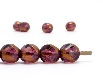 Amethyst Swirl Czech Glass Beads, (10 pcs) 8mm Swirl Beads, Purple Beads, RND0359