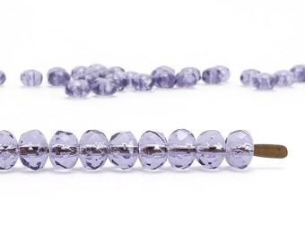 Purple Rondelle Czech Glass Beads, (60 pcs) 3x5mm Rondelle Beads, Purple Gemstone Donut, GMD0229