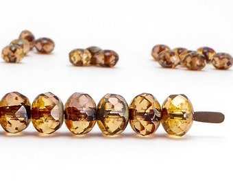 Brown Rondelle Czech Glass Beads, (30 pcs) 5x7mm Rondelle Beads, Brown Gemstone Donut, GMD0263