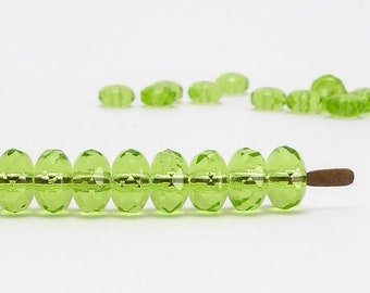 Green Rondelle Czech Glass Beads, (30 pcs) 4x7mm Rondelle Beads, Green Beads, GMD0274