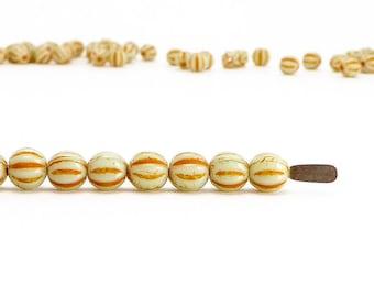 Orange Melon Czech Glass Beads, (75 pcs) 4mm Melon Beads, Orange Glass Beads, MEL0008