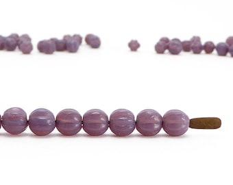 Purple Melon Czech Glass Beads, (100 pcs) 4mm Melon Beads, Purple Beads, MEL0006