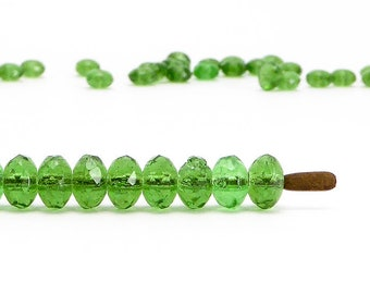 Green Rondelle Czech Glass Beads, (60 pcs) 3x5mm Rondelle Beads, GMD0232