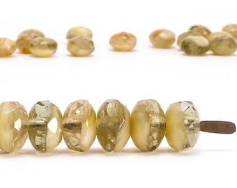 Green Rondelle Czech Glass Beads, (30 pcs) 4x7mm Rondelle Beads, Green Beads, GMD0282