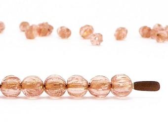 Pink Melon Czech Glass Beads, (100 pcs) 4mm Melon Beads, Pink Glass Beads, MEL0009