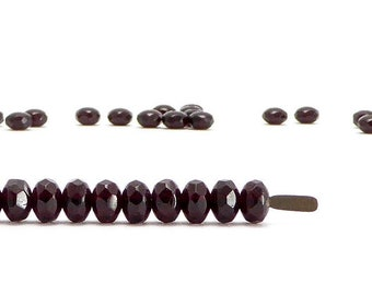 Dark Plum Rondelle Czech Glass Beads, (30 pcs) 3x5mm Rondelle Beads, Gemstone Donut Beads, GMD0090
