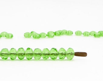 Green Rondelle Czech Glass Beads, (60 pcs) 3x5mm Rondelle Beads, GMD0053