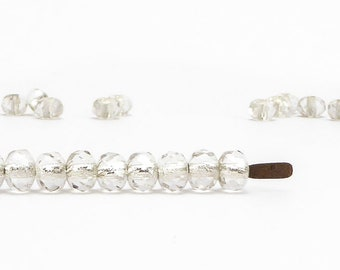 Clear Silver Lined Rondelle Czech Glass Beads, (30 pcs) 3x5mm Rondelle Beads, Gemstone Donut, GMD0117