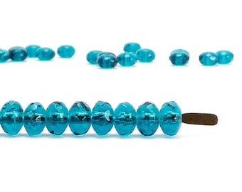 Teal Rondelle Czech Glass Beads, (60 pcs) 3x5mm Rondelle Beads, Gemstone Donut Beads, GMD0088