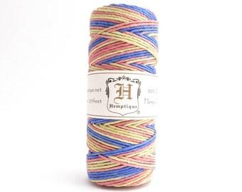 Rhythm Variegated Hemp Cord 1mm, 62.5m Hemptique Cord, Variegated Hemp Cord, Blue Hemp Cord, Rainbow Hemp Cord HMS0070
