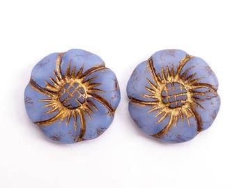 Cornflower Blue Flower Czech Glass Beads, (2 pcs) 22mm Flower Beads, Large Flower Beads, Flat Flower Beads, Blue Flower Beads FLW0488