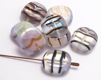 Stripy AB Cushion Czech Glass Beads, (10 pcs) 17x16mm Oval Glass Beads, Stripy Oval Beads, AB Oval Beads, Rainbow Oval OVA0037