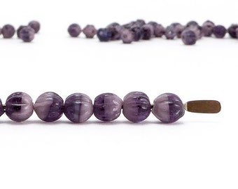 Purple Melon Czech Glass Beads, (100 pcs) 4mm Melon Beads, Purple Glass Beads, MEL0013