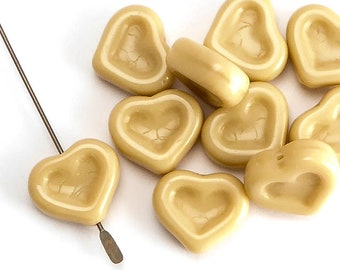 Cream Heart Czech Glass Beads, (10 pcs) 14x12mm Heart Beads, HRT0089