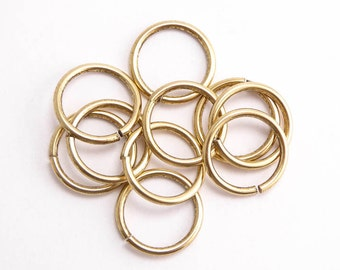 Antique Gold Jump Rings, (10 pcs) 12.5mm Nunn Design Jump Rings, Antique Gold Jump Rings, Large Jump Rings JPR0018
