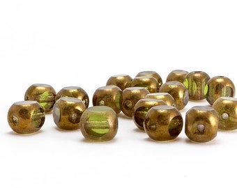 Green 4 Cut Czech Glass Beads, (20 pcs) 6mm 4 Cut Beads, Green Glass Beads, TWC0016