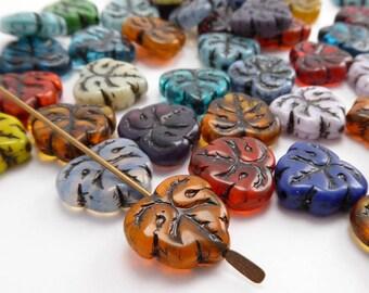 Bright Decorative Leaf Czech Glass Beads, (8 pcs) 13x12mm Bright Leaf Beads, Czech Glass Leaf Beads, Leaf Beads, Red Leaf Beads LEA0091