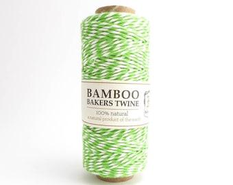 Hemptique Neon Green Bamboo Bakers Twine, Hemptique Cord, Green Bamboo Cord, Green White Bakers Twine, Neon Green Cord BBS0012