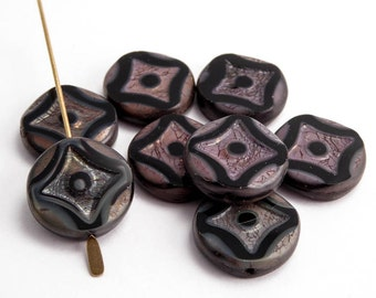 Black Geometric Coin Czech Glass Beads, (6 pcs) 15mm Black Coin Beads, Black Table Cut Beads, Black Geometric Coin Beads CON0131