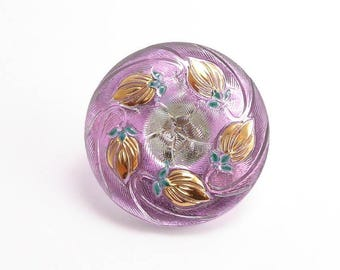 Pink Czech Glass Button, 27mm Czech Button, Flower Button, BUT0078