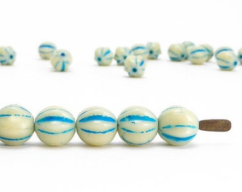 Cream Melon Czech Glass Beads, (40 pcs) 6mm Melon Beads, Cream Glass Beads, MEL0014