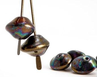 Petrol UFO Czech Glass Beads, (15 pcs) 7x11mm UFO Beads, Petrol Beads, UFB0002