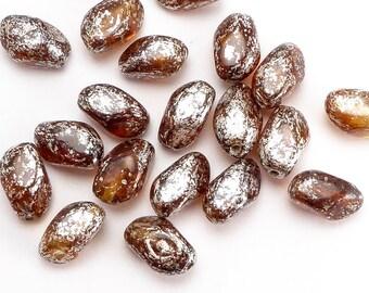 Oval Twist Czech Glass Beads, (20 pcs) 11x7mm Oval Beads, Amber Beads, OVA0142
