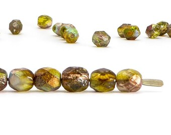 Magic Green Etched Czech Glass Beads, (30 pcs) 6mm Round Beads, Etched Beads, RND0375