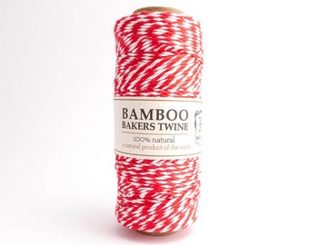 Hemptique Red Bamboo Bakers Twine, Hemptique Cord, Red Bamboo Cord, Red White Bakers Twine, Red Macrame Cord BBS0008