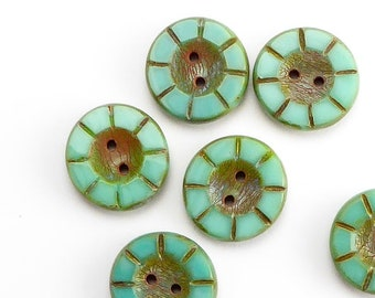 Turquoise Czech Glass Buttons, (6 pcs) 5x14mm Buttons, Turquoise Buttons, BUT0087