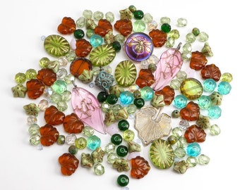 Pretty Czech Glass Bead Inspiration Mix, Bead Mix, Czech Glass Bead Mix, Green Bead Soup, Brown Czech Glass Beads, Pretty Beads CBM0067