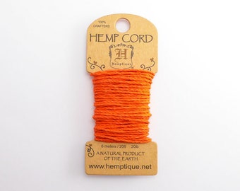 Orange Hemp Cord 1mm Mini, 6m Hemptique Cord, Orange Hemptique Cord, Orange Macrame Cord, Orange Bracelet Cord HMC0078