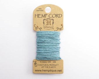 Light Blue Hemp Cord 1mm Mini, 6m Hemptique Cord, Light Blue Hemptique Cord, Blue Macrame Cord, Blue Bracelet Cord HMC0081