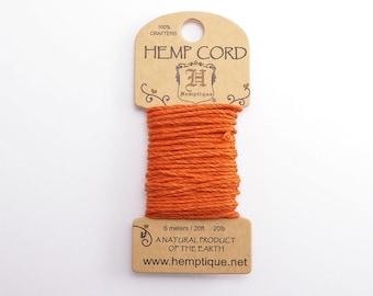 Pumpkin Pie Hemp Cord 1mm Mini, 6m Hemptique Cord, Orange Hemptique Cord, Orange Macrame Cord, Orange Bracelet Cord HMC0101