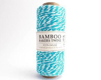 Hemptique Neon Turquoise Bamboo Bakers Twine, Hemptique Cord, Turquoise Bamboo Cord, Turquoise White Bakers Twine BBS0009